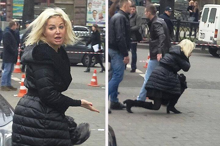 Мария Максакова упала наколени перед телом убитого супруга Дениса Вороненкова