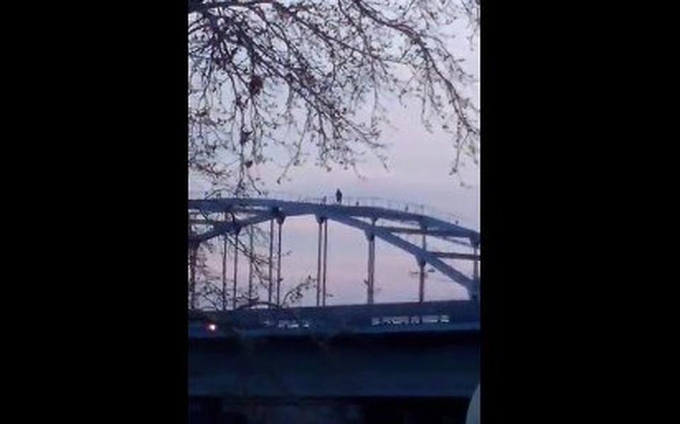 ВУфе руфер разгуливал поарке моста через реку белоснежную
