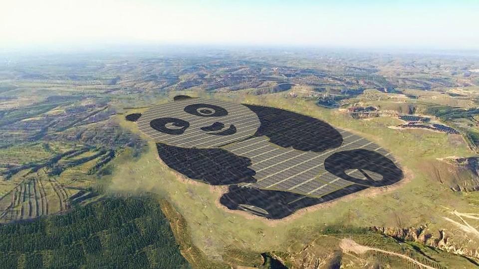 В Китайская народная республика возникла солнечная электростанция вформе панды