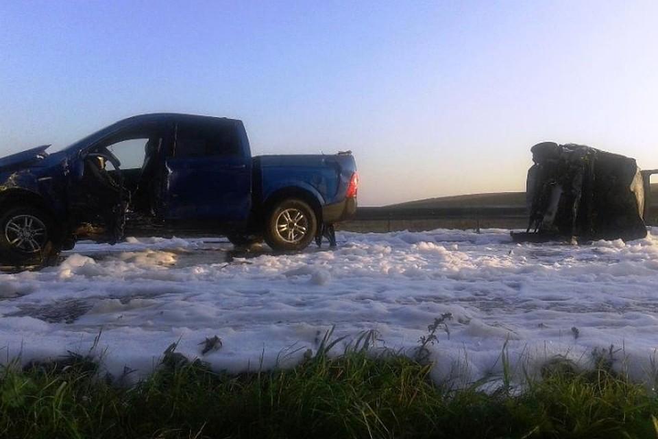 Врезультате ДТП надороге Кукуштан-Чайковский сгорел автомобиль