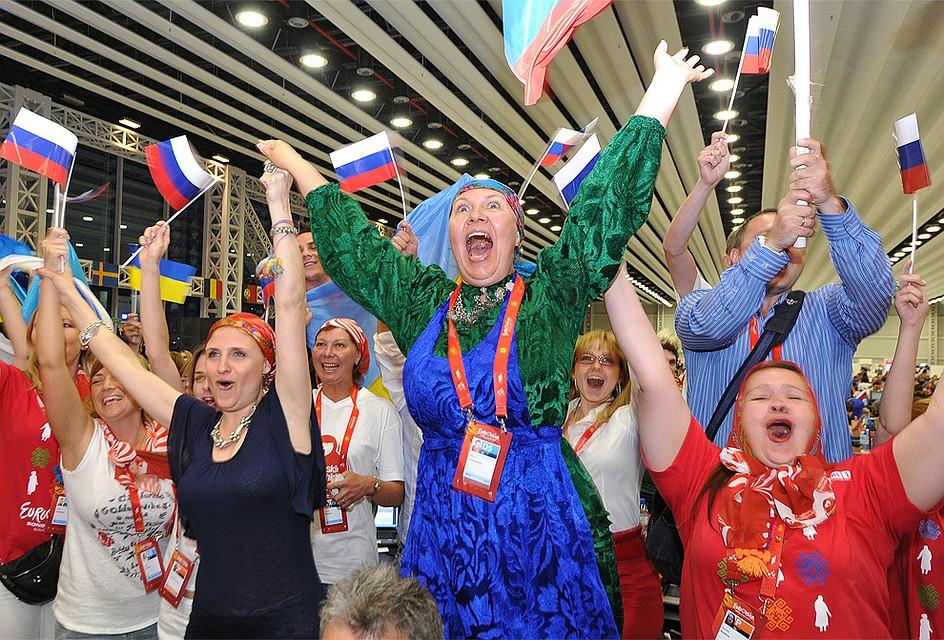 2012 год болельщики россиян во время оглашения результатов голосования на конкурсе'Евровидение в Баку