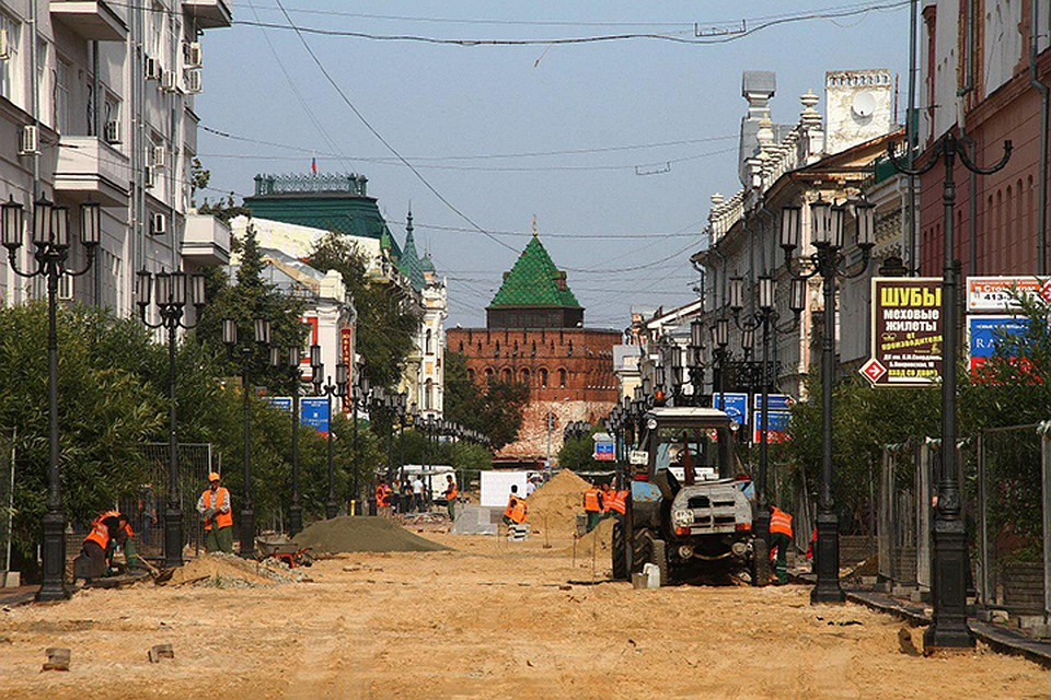 Работы поблагоустройству улицы Большой Покровской вНижнем Новгороде выполнены на70%