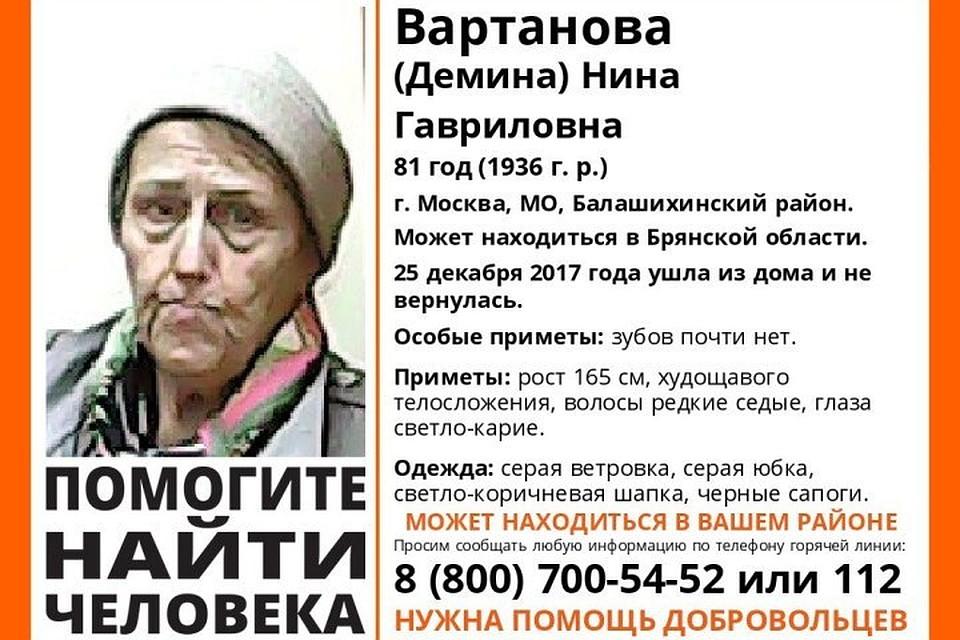 Отряд «Лиза Алерт» разыскивает пропавшую пенсионерку изБалашихи