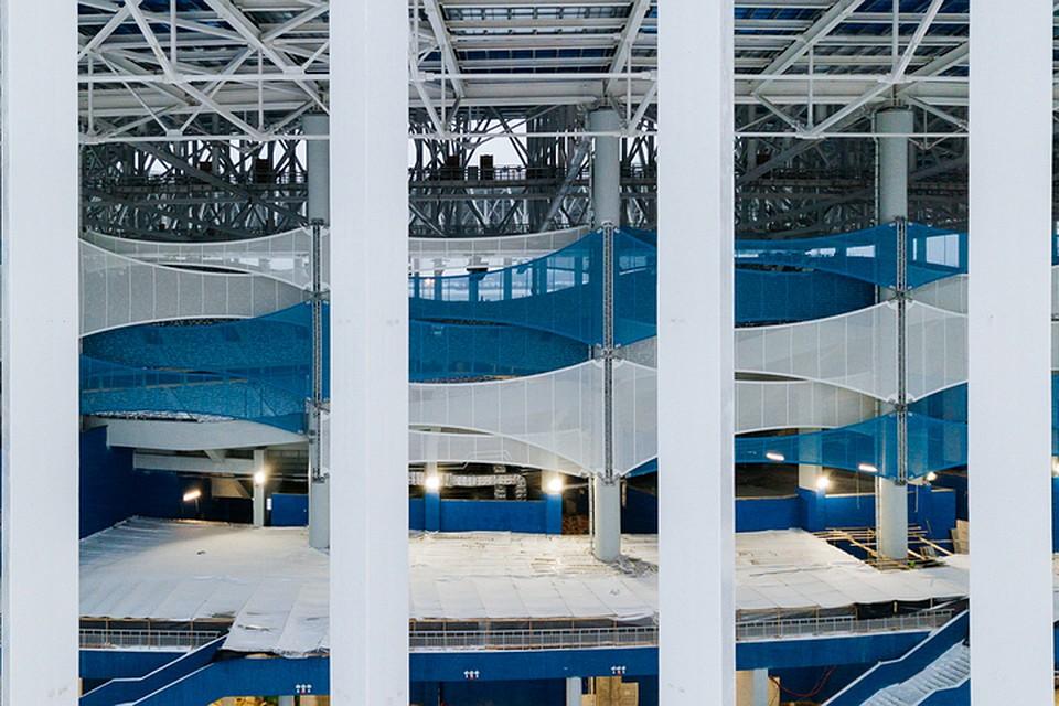 Монтаж фасадной мембраны завершили настадионе «Нижний Новгород»