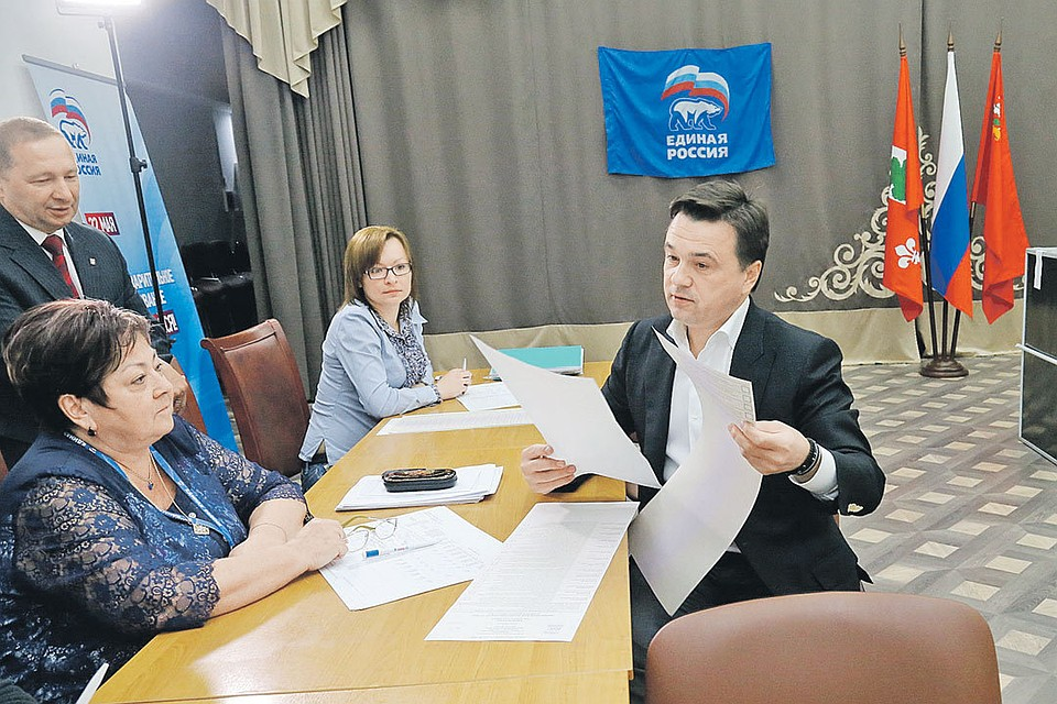 Андрей Воробьёв проголосовал на одном из участков Одинцовского района. Фото: Пресс-служба МО