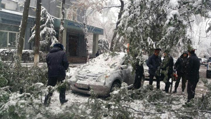 Снегопадом накрыло город, в том числе и несколько машин.