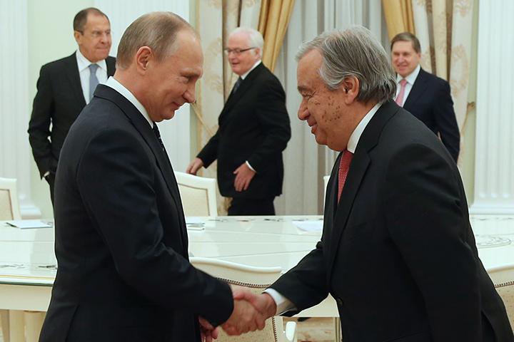 Антониу Гутерреш приехаk в Москву на встречу с Владимиром Путиным. Фото: Артем Коротаев/ТАСС
