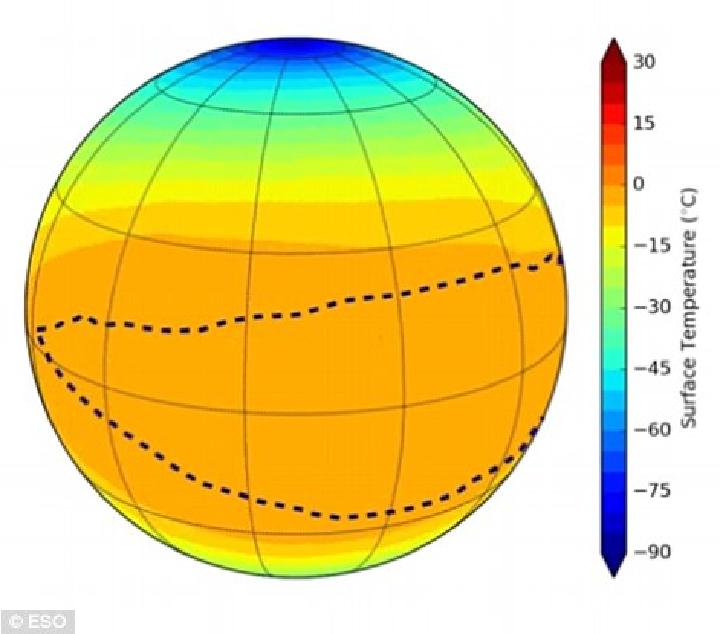 Вероятна температура на поверхности Proxima b, если планета вращается.