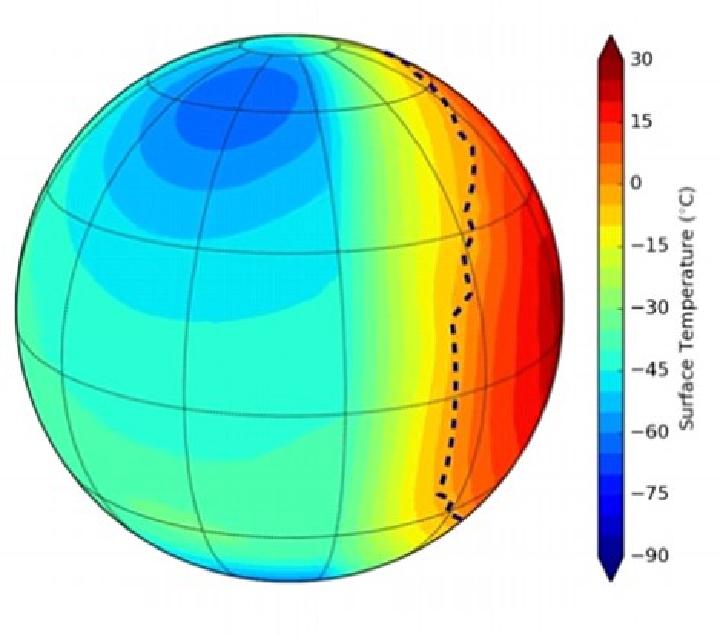 Вероятна температура на поверхности Proxima b, если планета обрщена к светилу одной стороной.