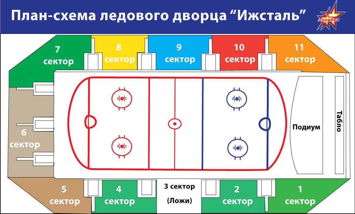 схема 211 сектора в ледовом дворце
