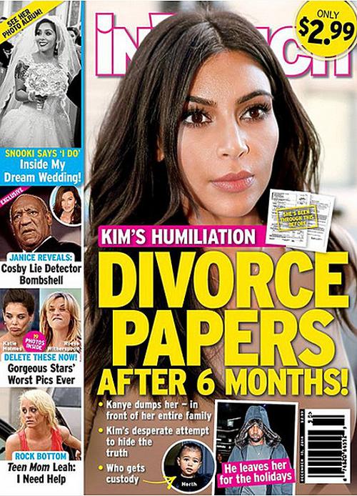 . «Ким подает документы на развод через шесть месяцев после свадьбы!» - с такой обложкой вышел последний выпуск популярного таблоида In Touch.