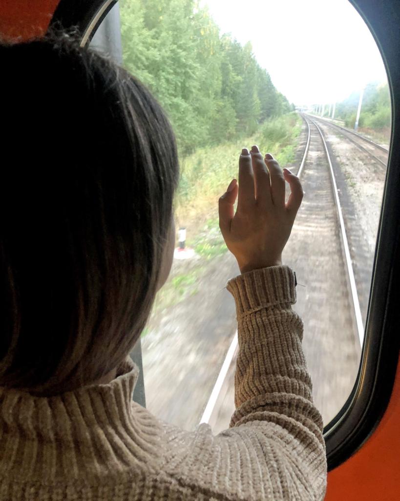 девушка смотрит в окно поезда
