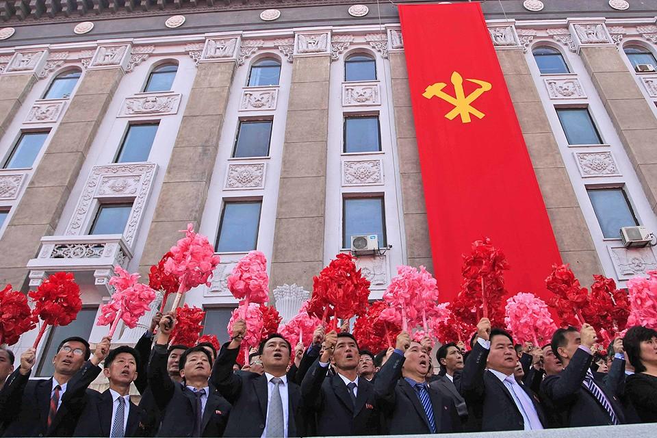 На демонстрации в Пхеньяне, октябрь 2017 года.
