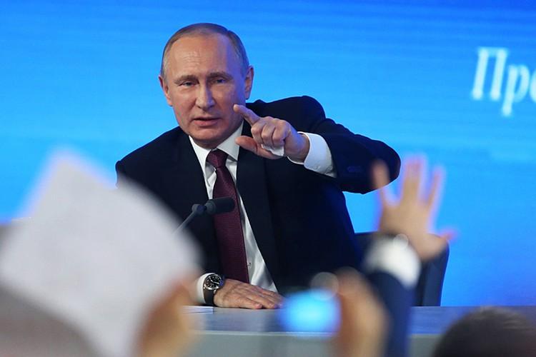 Тринадцатая по счету пресс-конференция традиционно начнется в 12 часов. Фото: Артем Коротаев/ТАСС