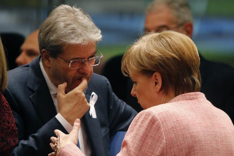 Премьер-министр Италии Паоло Джентилони и канцлер Германии Ангела Меркель