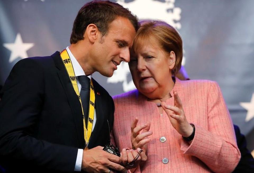 Президент Франции Эмманюэль Макрон и канцлер Германии Ангела Меркель