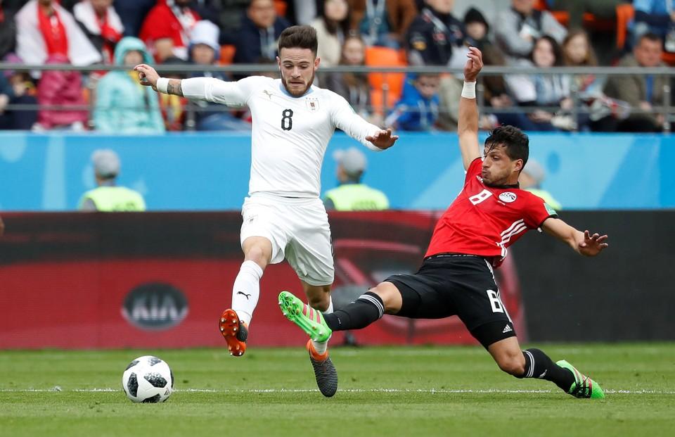 Во втором поединке чемпионата мира уругвайцы вырвали победу у сборной Египта.