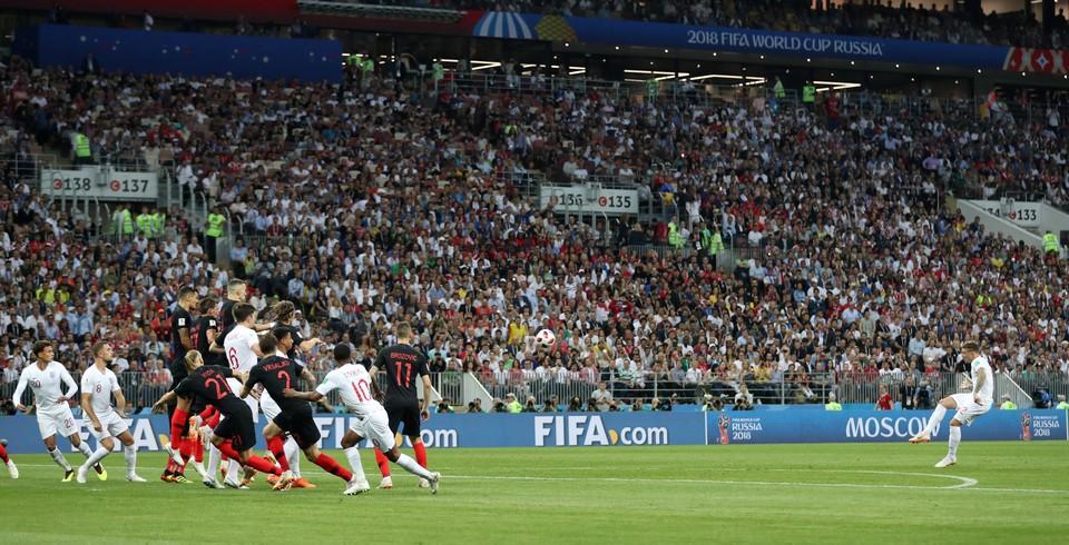 "Матч Хорватия - Англия проходит в Москве на стадионе ""Лужники""."