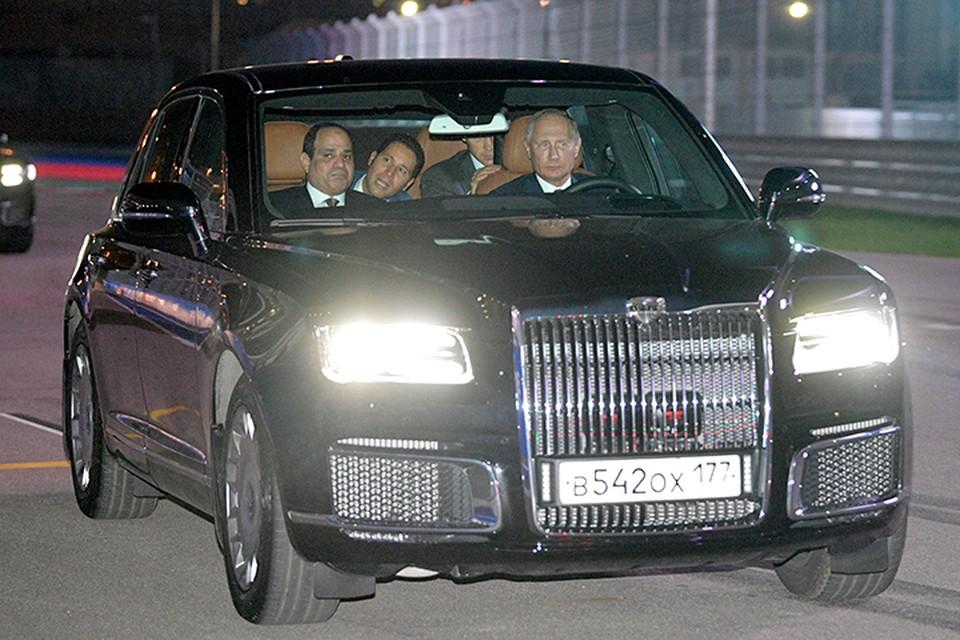 Путин довез коллегу до сочинского автодрома на своем новом лимузине «Сенат». Фото: Алексей Дружинин/ТАСС