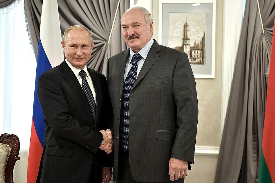 Президенты Белоруссии и РФ Александр Лукашенко и Владимир Путин.