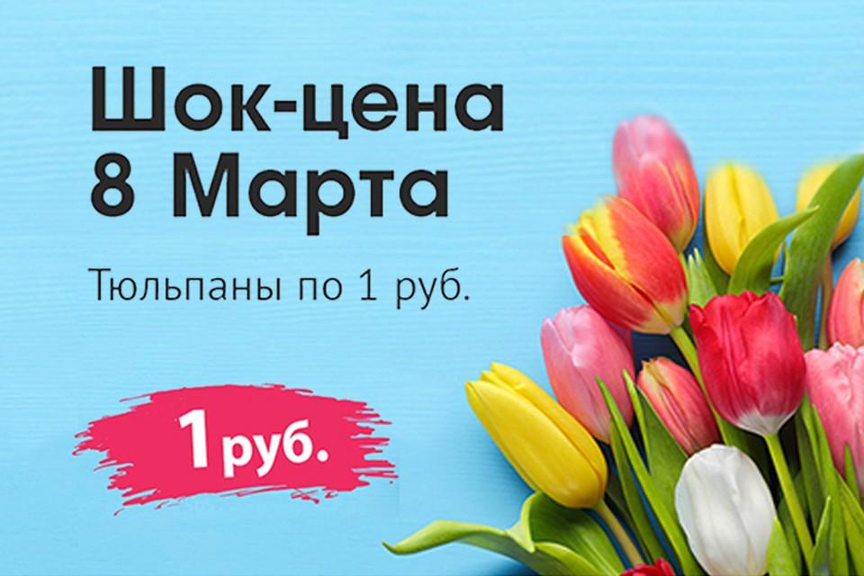 Только восьмого марта в «Галамарте» можно будет купить тюльпаны… по 1 рублю.