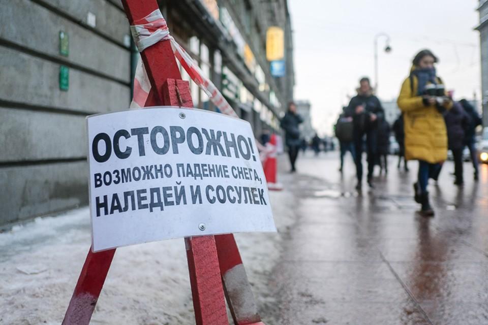 Зимой 2019 года в Петербурге от снега и льда пострадали почти четыре тысячи человек