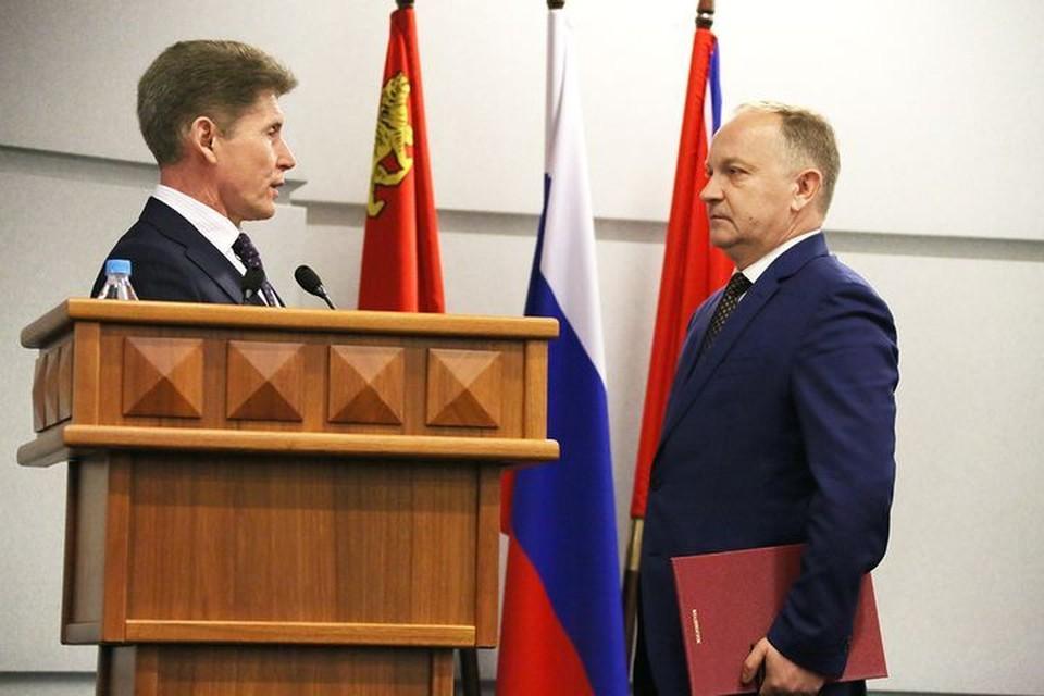Губернатор Приморья поздравляет нового мэра Владивостока