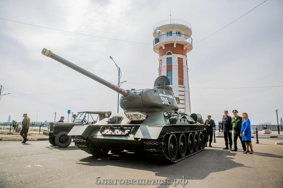 После парада танк отправится в парк боевых машин ДВОКУ. Фото: благовещенск.рф