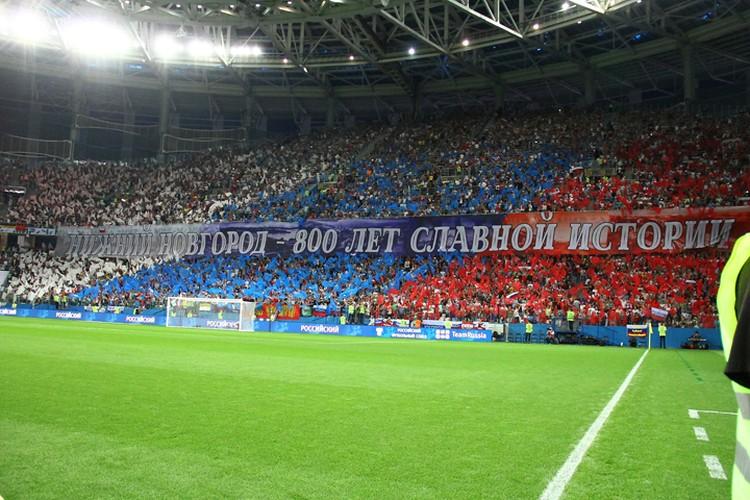 Болельщики составили флаг России из разноцветных модулей.