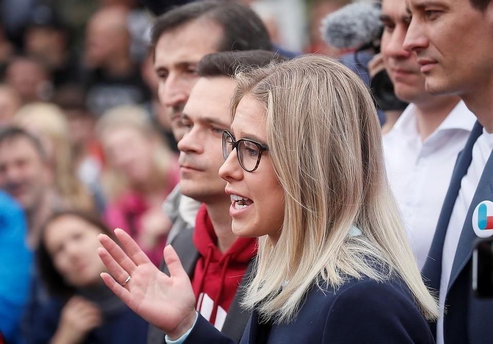 Незарегистрированный кандидат в Мосгордуму Любовь Соболь.