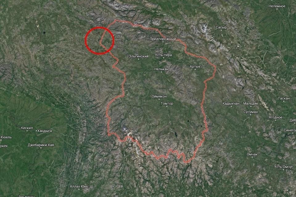 Оймяконский район и озеро Аяма, откуда вертолет взлетел