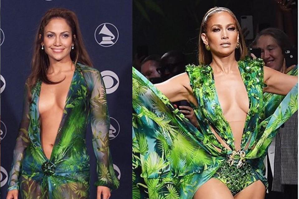 Дженнифер Лопес продемонстрировала копию культового наряда, сделавшего ее звездой премии «Grammy» в 2000 году. Фото: Инстаграм.
