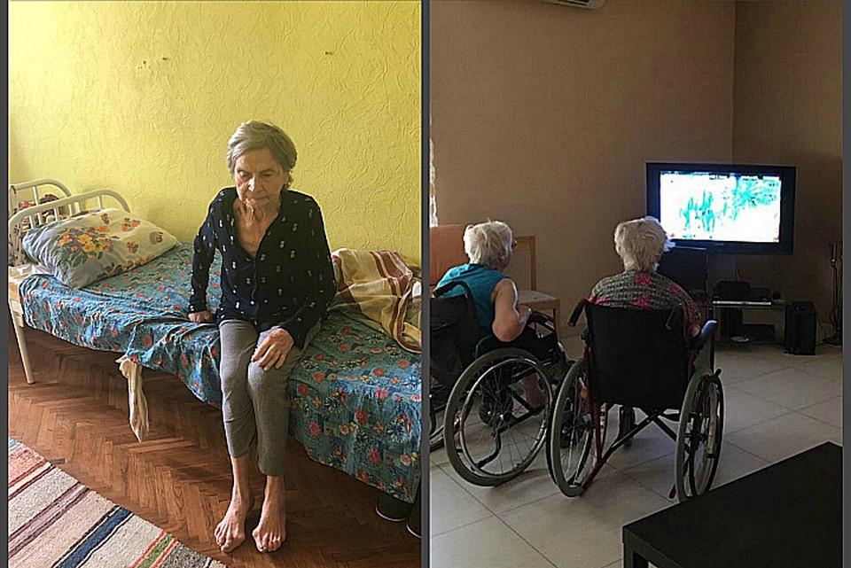 Слева Елена Андреевна в условиях реального пансионата, справа - виртуальная его картинка