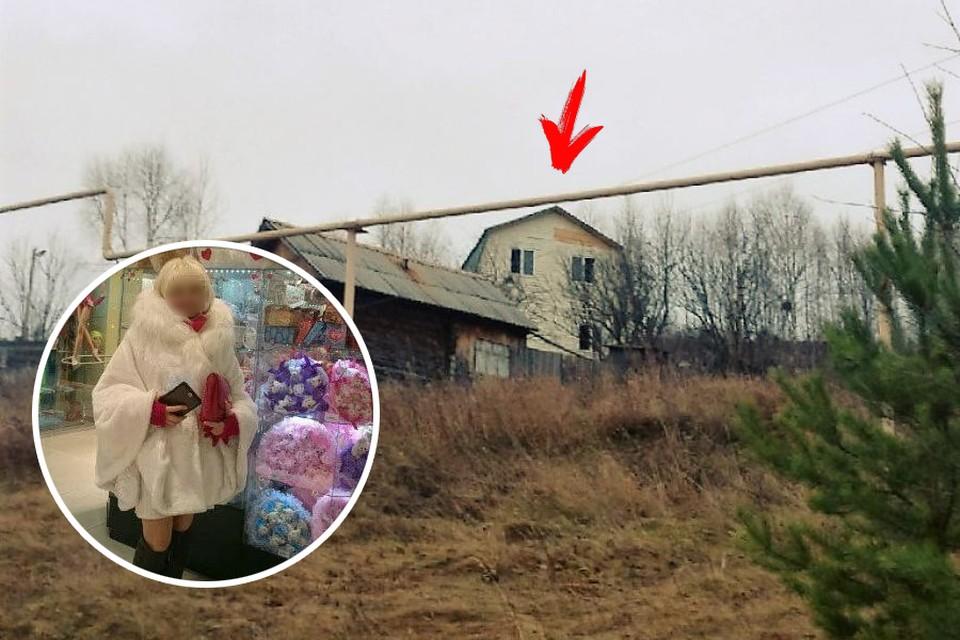 Мать внешне была эффектной женщиной. На заднем плане дом, где жила семья. Фото: соцсети/газета «Усть-Катавская неделя»