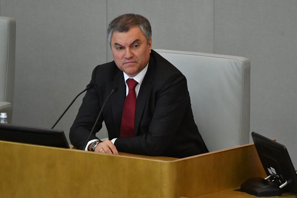 Спикер Госдумы Вячеслав Володин.