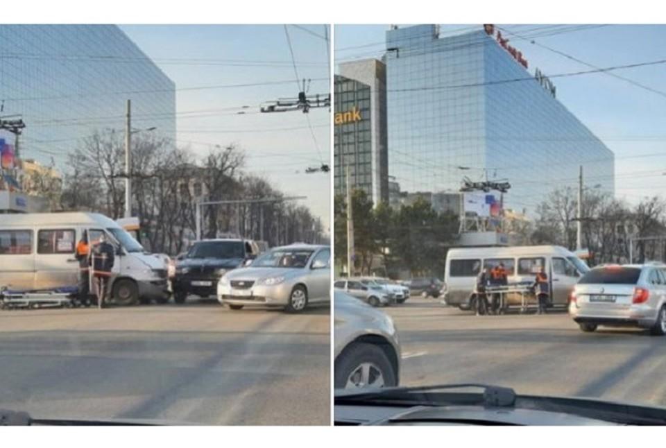 В Кишиневе маршрутка на ул. Штефана чел Маре попала в ДТП. Фото: соцсети