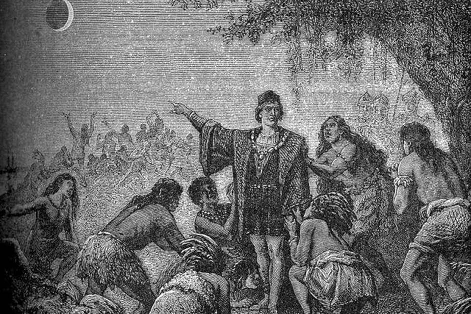 Колумб «возвращает туземцам Луну», старинная гравюра.