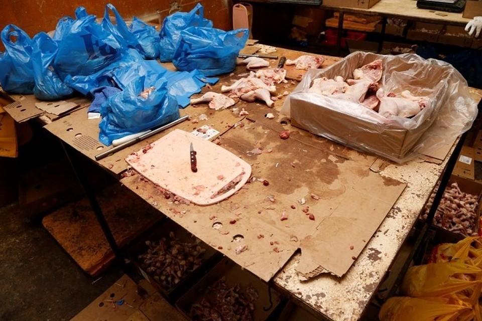 Вот в таких условиях разделывали курицу, которая потом шла в продажу. Фото:Россельзхознадзор по СПб ЛО и ПО.