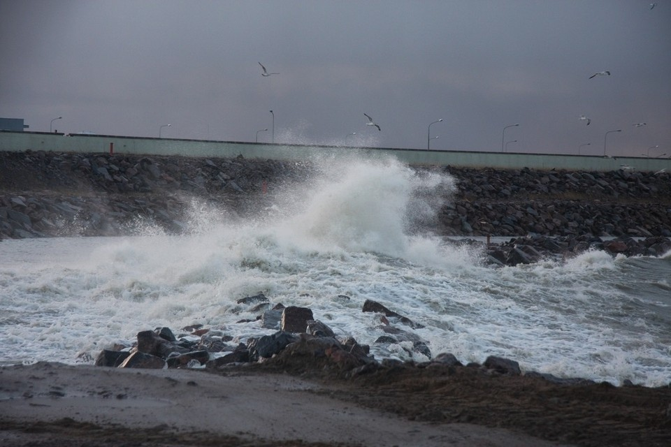 Над Петербургом и Финским залиdом бушевал шторм. Фото: КЗС СПб
