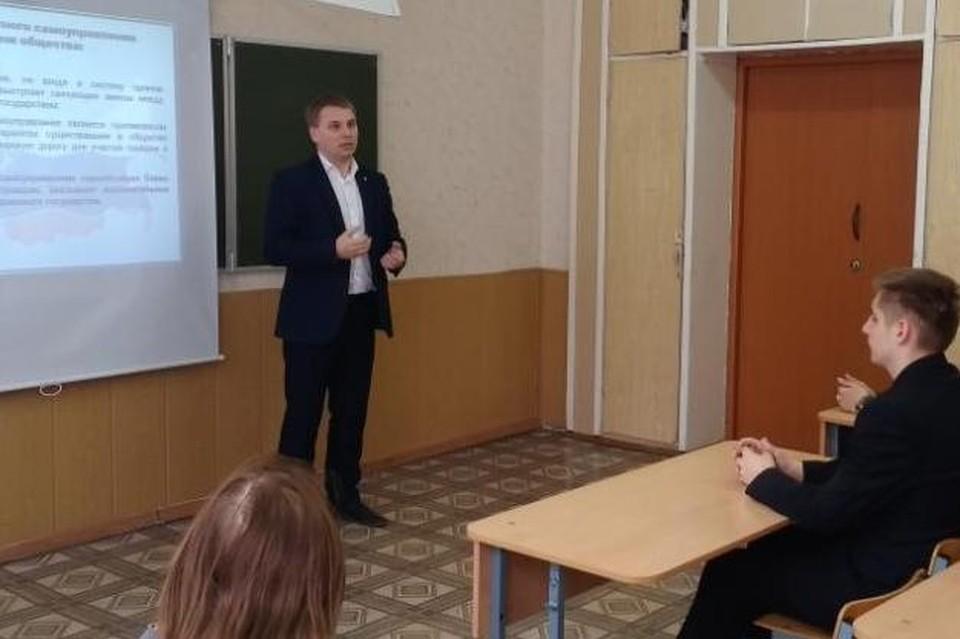 Кирилл Горелов на Дне местного самоуправления в школе №59. Фото: школа №59.