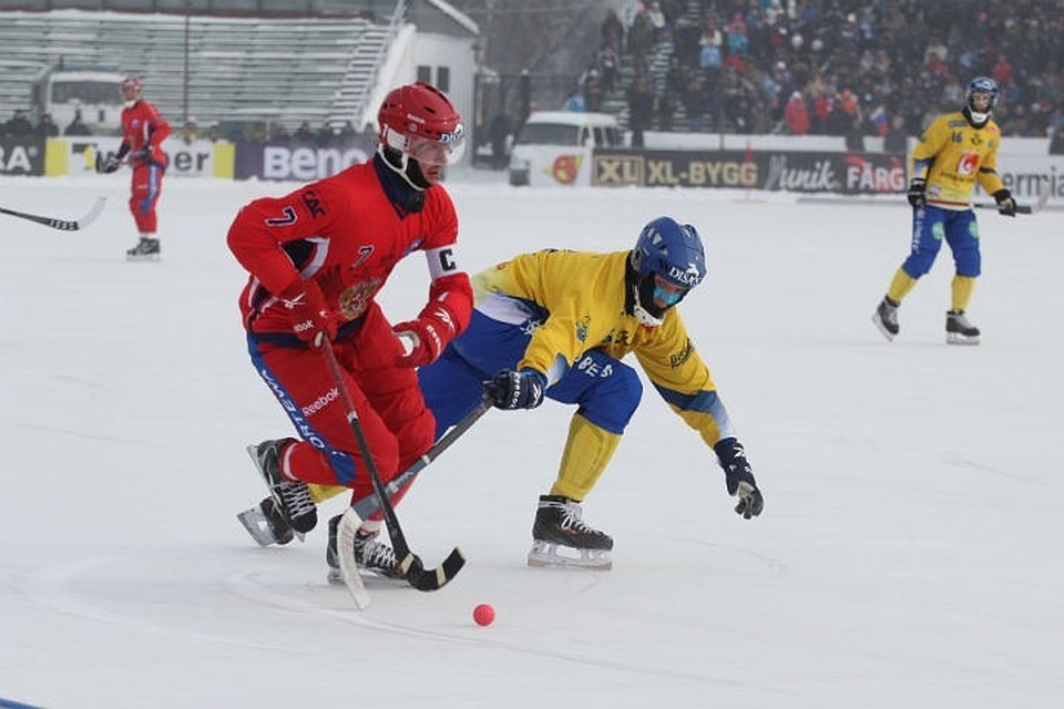 Момент финального матча Россия-Швеция с чемпионата мира 2014, который также проходил в Иркутске.