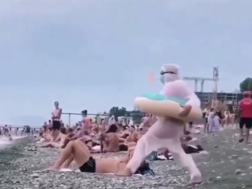 В Сочи туристка пошла купаться в море в комбинезоне и маске. Фото: t.me/love_sochi
