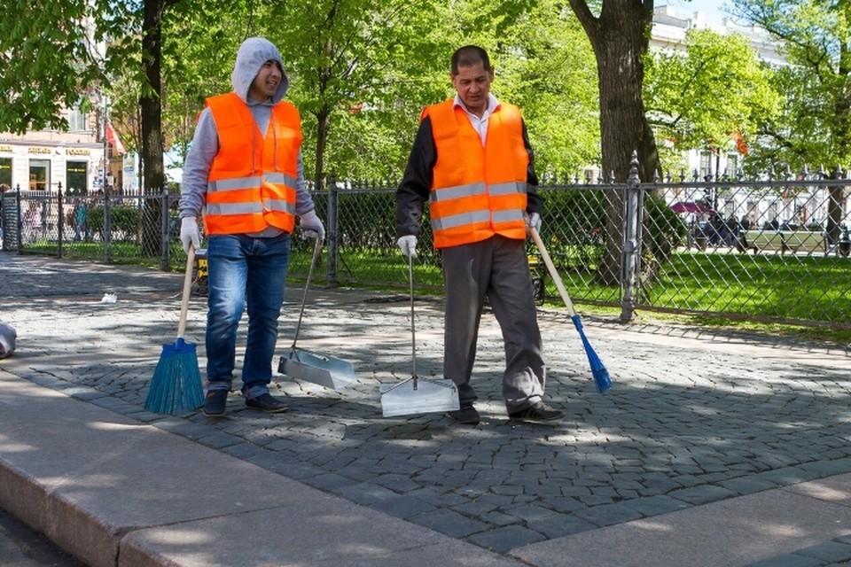 Дворники и мусорщики подрались за пухто в Санкт-Петербурге.
