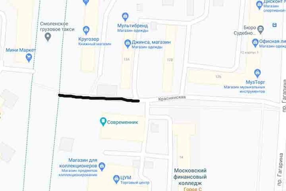В Смоленске хотят сделать переулок Дизайнеров. Фото: google.ru/maps.