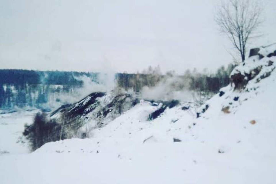 Горная порода сошла на горящем отвале в Кузбассе. ФОТО: инстаграм Андрея Панова.