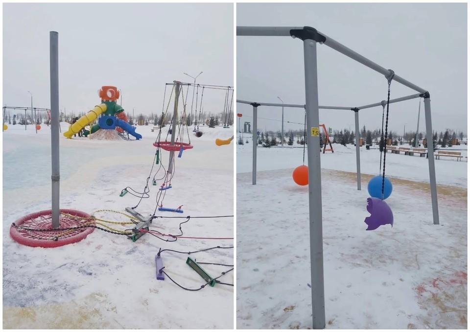 В новогоднюю ночь неизвестные испортили детские качели в парке. Фото: пресс-служба администрации Магнитогорска