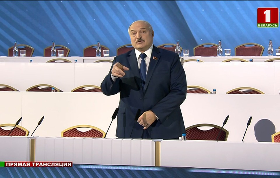 """Комсомолка"" собрала яркие цитаты Лукашенко на ВНС. Фото: Кадр видео tvr.by"