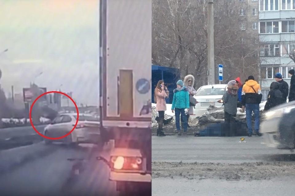 "В Новосибирске столкнулись две иномарки и фура: одна из легковушек сбила пешехода. Фото: Кадр из видео\ ""АСТ-54"""