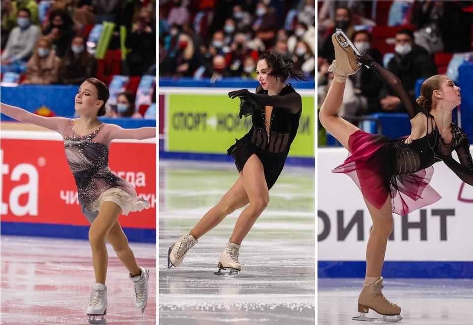 Анна Щербакова (слева) стала чемпионкой мира, Елизавета Туктамышева (в центре) завоевала серебро, а Александра Трусова (справа) - бронзу.