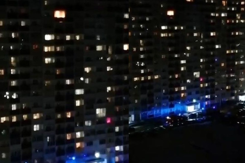В Первомайском районе Новосибирска вечером 5 апреля загорелась высотка. Фото: Кадр из видео